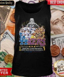 Top Kobe Bryant Los Angeles Lakers Dodgers 2020 Nba Finals Champions All For One – One For All Tank Top - Design By Viewtees.com