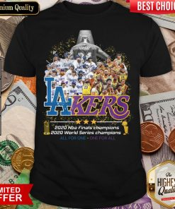 Top Kobe Bryant Los Angeles Lakers Dodgers 2020 Nba Finals Champions All For One – One For All Shirt - Design By Viewtees.com