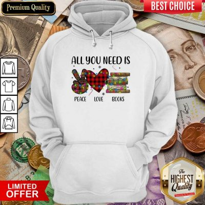 All You Need Is A Peace Love Books Merry Christmas Light Hoodie - Design By Viewtees.com