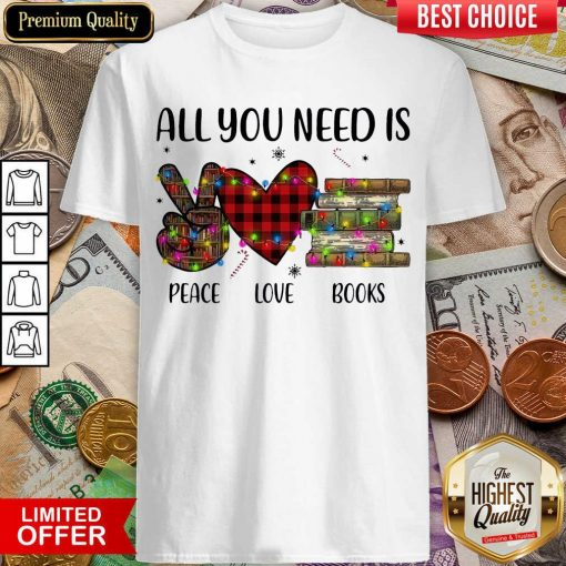 All You Need Is A Peace Love Books Merry Christmas Light Shirt - Design By Viewtees.com