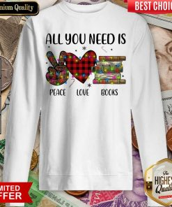 All You Need Is A Peace Love Books Merry Christmas Light Sweatshirt - Design By Viewtees.com