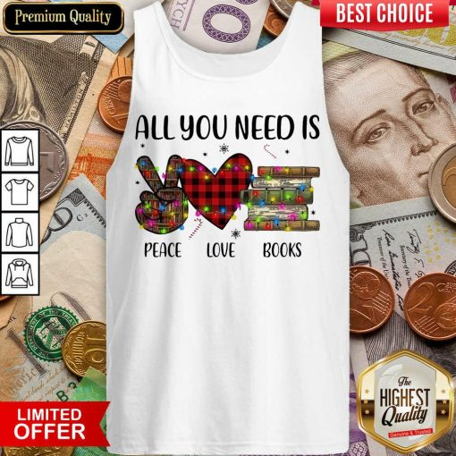All You Need Is A Peace Love Books Merry Christmas Light Tank Top - Design By Viewtees.com