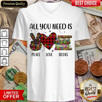 All You Need Is A Peace Love Books Merry Christmas Light V-neck - Design By Viewtees.com