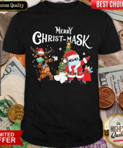 Merry Christmask Santa Clause Reindeer Wear Mask Toilet Paper Shirt - Design By Viewtees.com