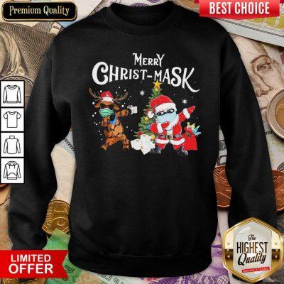 Merry Christmask Santa Clause Reindeer Wear Mask Toilet Paper Sweatshirt - Design By Viewtees.com