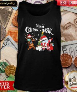 Merry Christmask Santa Clause Reindeer Wear Mask Toilet Paper Tank Top - Design By Viewtees.com