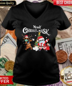Merry Christmask Santa Clause Reindeer Wear Mask Toilet Paper V-neck - Design By Viewtees.com