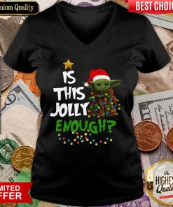 Funny Baby Yoda Is This Jolly Enough Christmas V-neck - Design By Viewtees.com