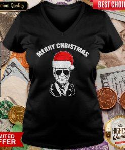 Funny Joe Biden Santa Merry Christmas V-neck - Design By Viewtees.com