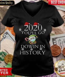 Good 2020 You'll Go Down In History Elf Wear Mask Christmas V-neck - Design By Viewtees.com