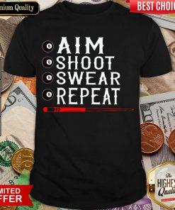 Aim Shoot Swear Repeat Billiards Christmas Shirt - Design By Viewtees.com