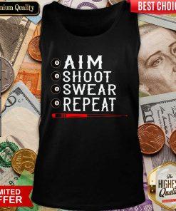 Aim Shoot Swear Repeat Billiards Christmas Tank Top - Design By Viewtees.com