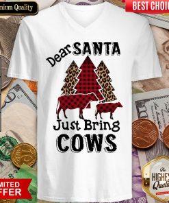 Good Dear Santa Just Bring Cows Christmas Tree V-neck - Design By Viewtees.com