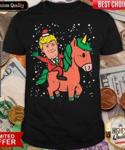 Good Santa Trump Riding Unicorn Funny Christmas Xmas Shirt - Design By Viewtees.com
