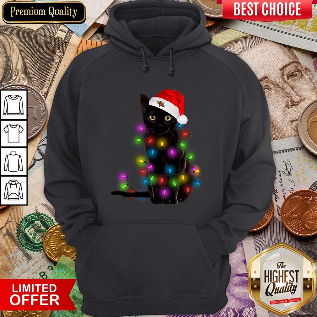 Colorful Black Cat Light Merry Christmas Hoodie - Design By Viewtees.com