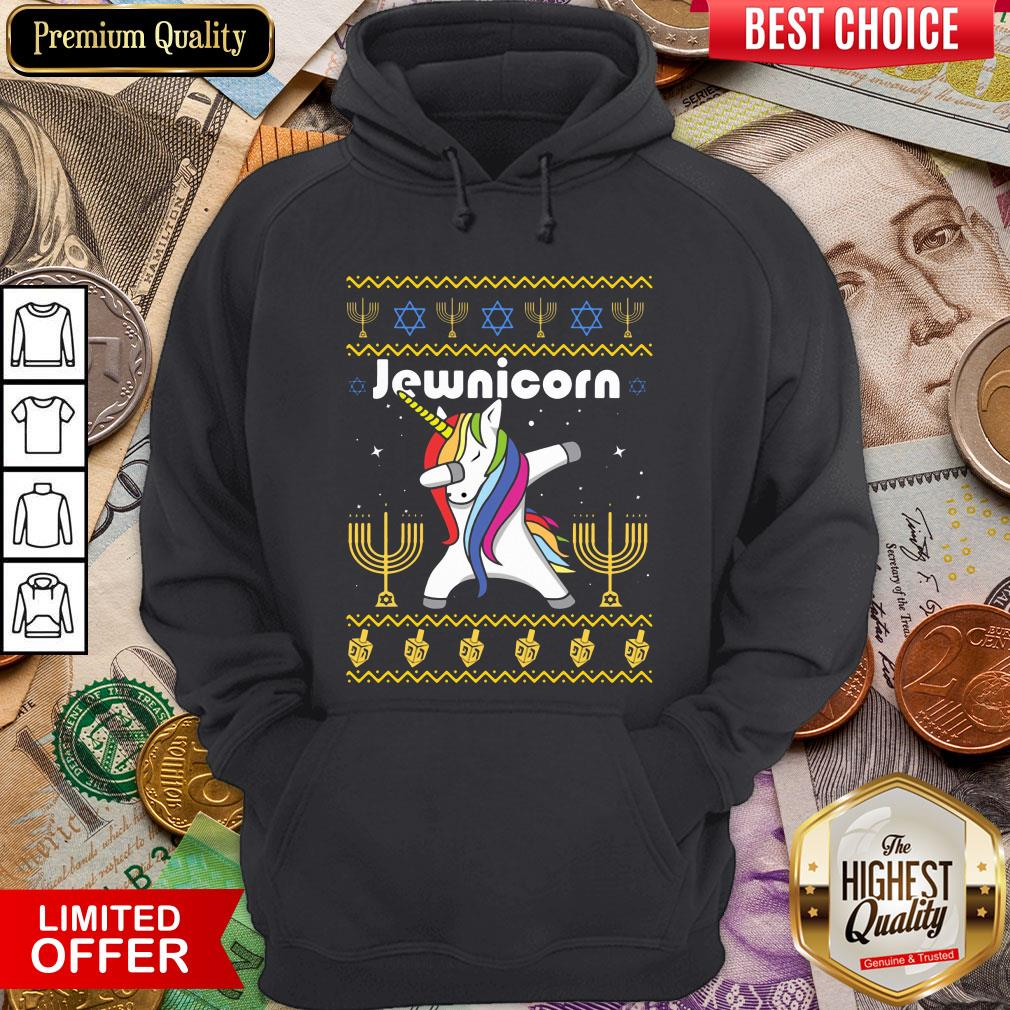 Cool Unicorn Dabbing Jewnicorn Ugly Christmas Hoodie - Design By Viewtees.com