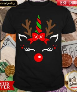 Hot Unicorn Face Reindeer Antlers Christmas Funny Pet Kids Gifts Shirt - Design By Viewtees.com