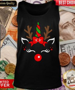 Hot Unicorn Face Reindeer Antlers Christmas Funny Pet Kids Gifts Tank Top - Design By Viewtees.com