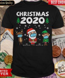 Nice Christmas 2020 Reindeer Santa Elf Face Wear Mask Shirt - Design By Viewtees.com