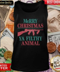Merry Christmas Ya Filthy Animal Gun Tank Top - Design By Viewtees.com