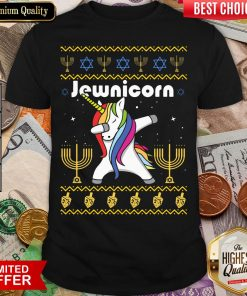 Cool Unicorn Dabbing Jewnicorn Ugly Christmas Shirt - Design By Viewtees.com