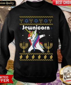 Cool Unicorn Dabbing Jewnicorn Ugly Christmas Sweatshirt - Design By Viewtees.com