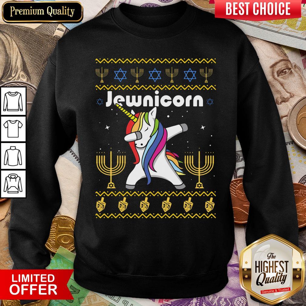 Cool Unicorn Dabbing Jewnicorn Ugly Christmas Sweatshirt - Design By Viewtees.com