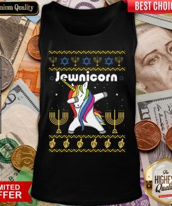 Cool Unicorn Dabbing Jewnicorn Ugly Christmas Tank Top - Design By Viewtees.com