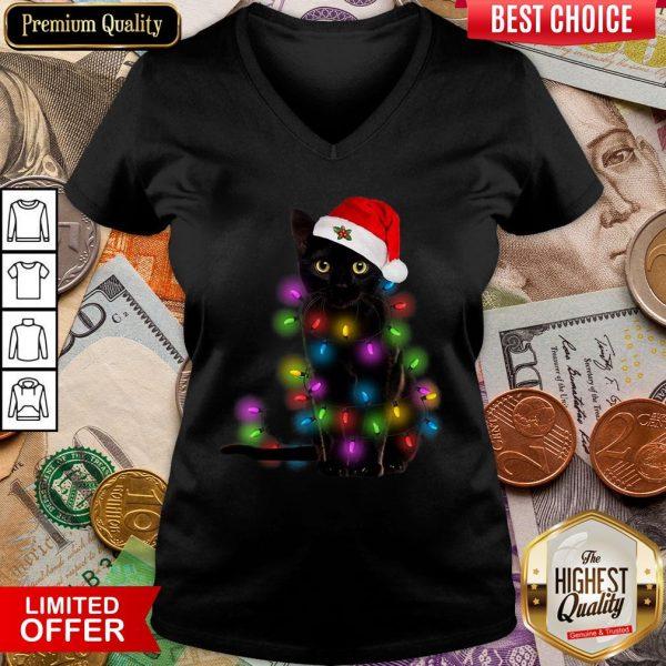 Colorful Black Cat Light Merry Christmas V-neck - Design By Viewtees.com