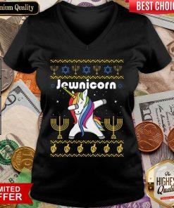 Cool Unicorn Dabbing Jewnicorn Ugly Christmas V-neck - Design By Viewtees.com