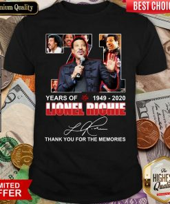 71 Year Of 1949 2020 Lionel Richie Signature Thank You For The Memories Shirt - Design By Viewtees.com