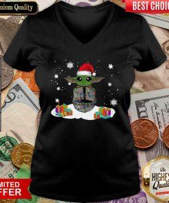 Santa Baby Yoda Merry Christmas Gift V-neck - Design By Viewtees.com