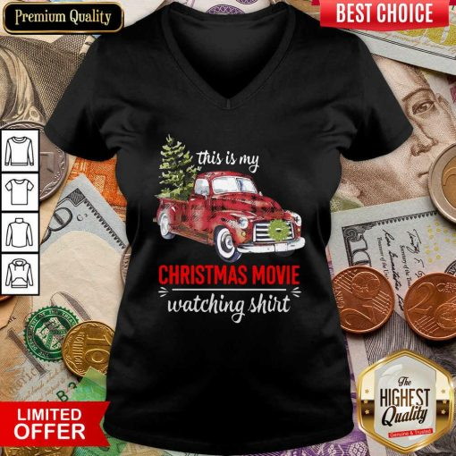 Truck This Is My Christmas Movie Watching V-neck - Design By Viewtees.com