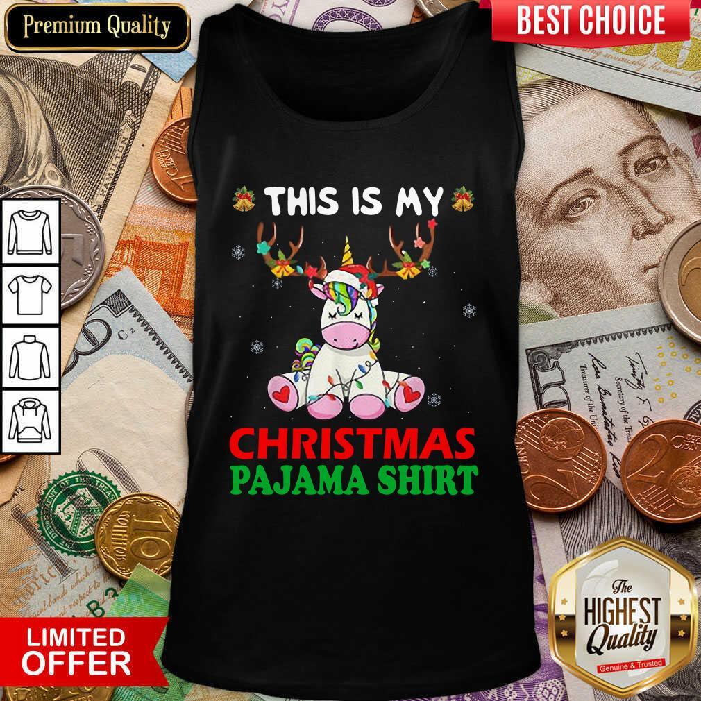 Unicorn Reindeer This Is My Christmas Pajama Tank Top - Design By Viewtees.com