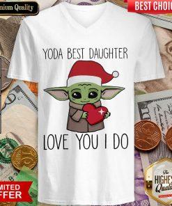 Baby Yoda Best Daughter Love You I Do Christmas V-neck - Design By Viewtees.com
