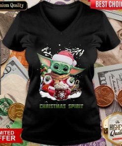 Santa Baby Yoda Christmas Spirit V-neck - Design By Viewtees.com