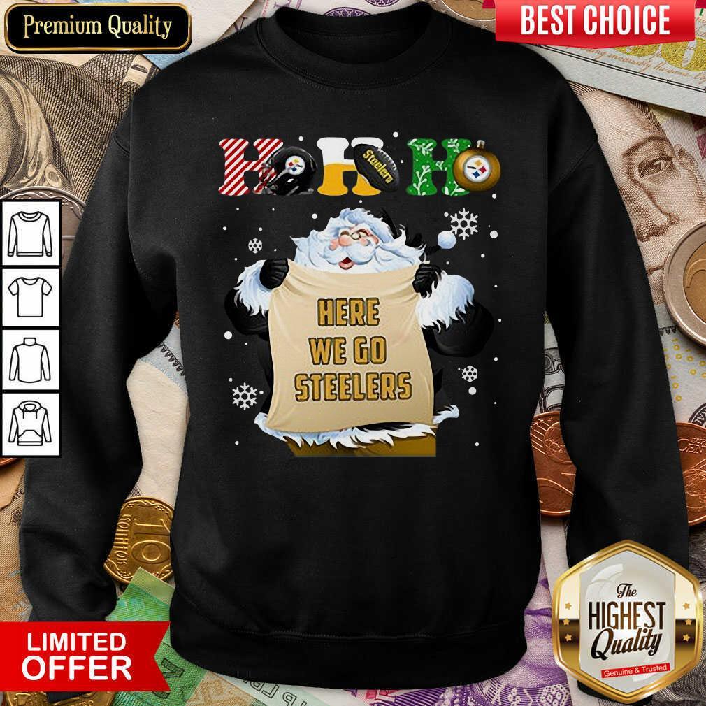 Pittsburgh Steelers Ho Ho Ho Santa Here We Go Steelers Merry Christmas Sweatshirt - Design By Viewtees.com