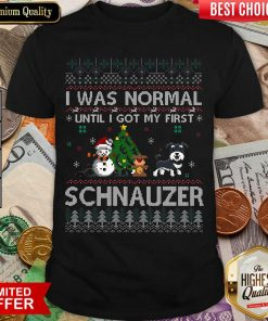 I Was Normal Until I Got My First Schnauzer Ugly Christmas Shirt - Design By Viewtees.com