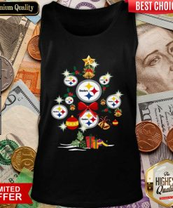 Pittsburgh Steelers Merry Christmas Tree Gift Tank Top - Design By Viewtees.com