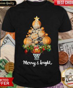 Volleyball Merry And Bright Christmas Tree Shirt - Design By Viewtees.com