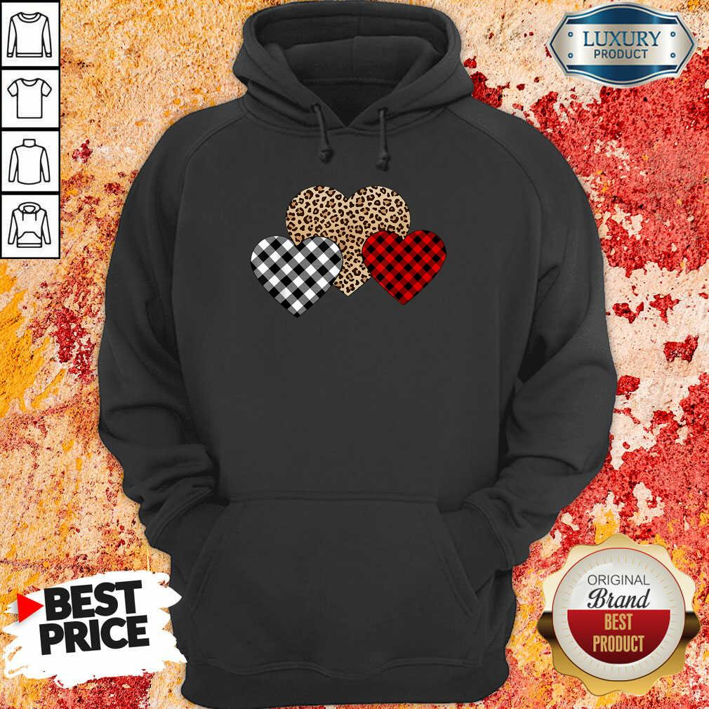 Awesome Valentines Day Valentine Three Hearts Leopard Buffalo Plaid Hoodie