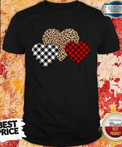 Awesome Valentines Day Valentine Three Hearts Leopard Buffalo Plaid Shirt