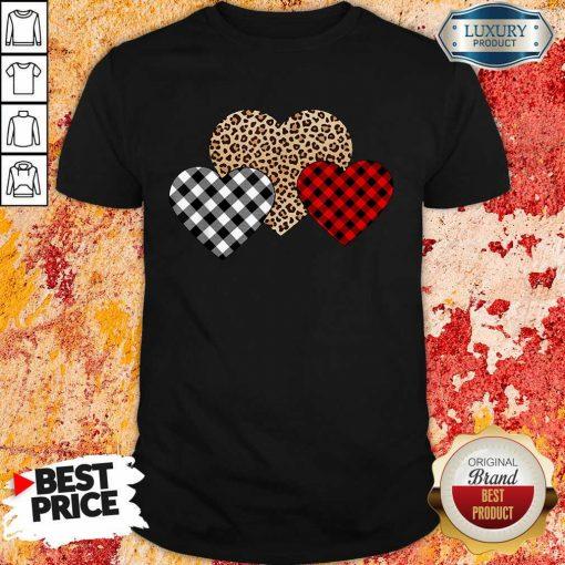 Awesome Valentines Day Valentine Three Hearts Leopard Buffalo Plaid Shirt