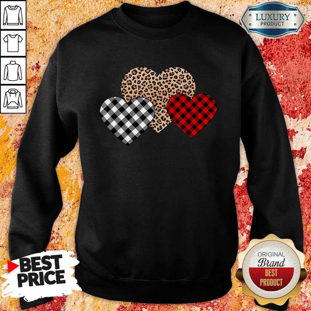 Awesome Valentines Day Valentine Three Hearts Leopard Buffalo Plaid Sweatshirt