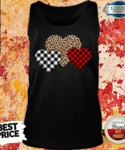Awesome Valentines Day Valentine Three Hearts Leopard Buffalo Plaid Tank Top