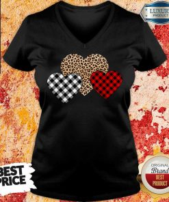 Awesome Valentines Day Valentine Three Hearts Leopard Buffalo Plaid V-neck