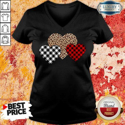 Awesome Valentines Day Valentine Three Hearts Leopard Buffalo Plaid V-neck