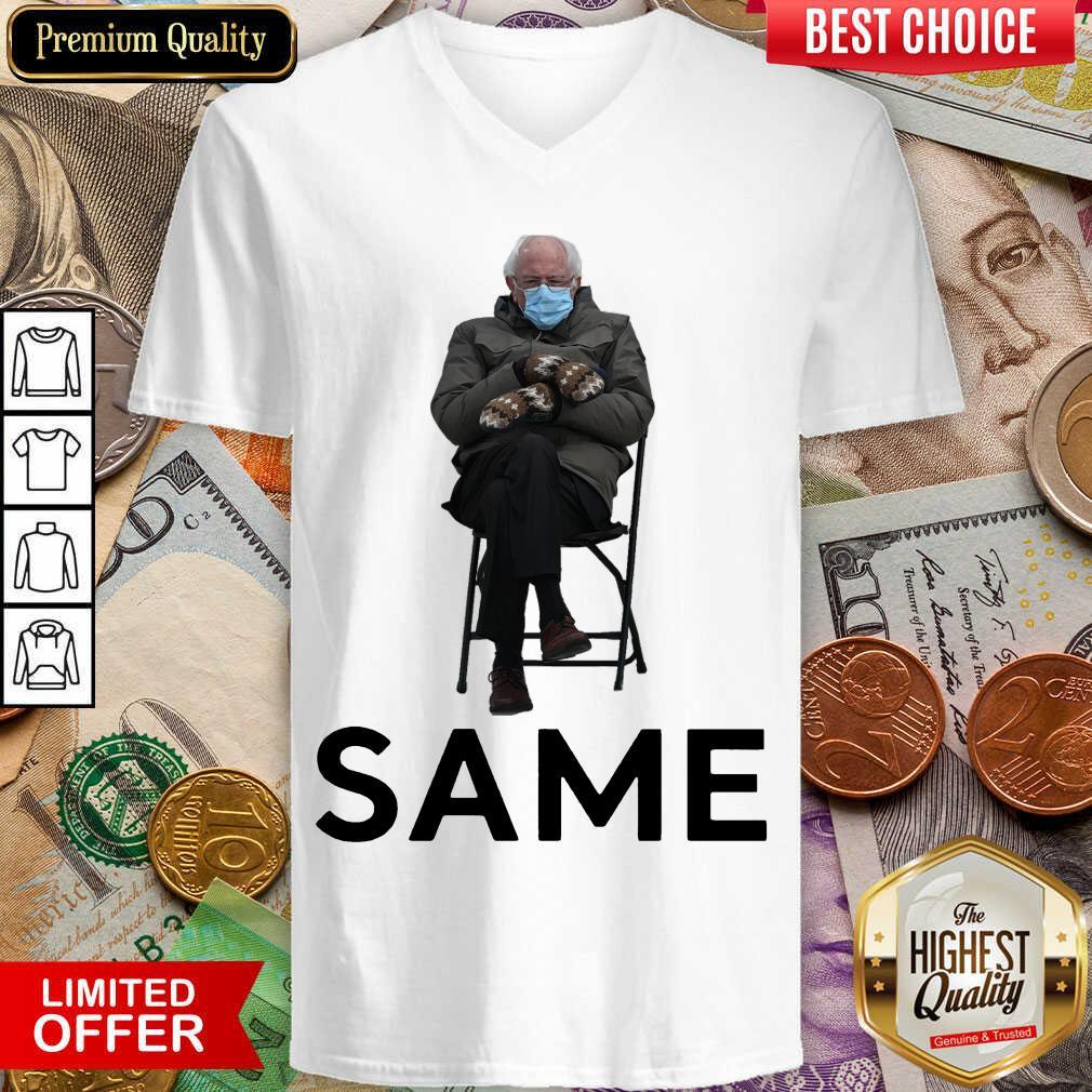 Funny Bernie Sanders Mittens Same 2021 V-neck
