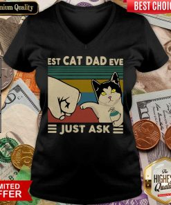 Funny Best Cat Dad Ever Just Ask Vintage 466 V-neck