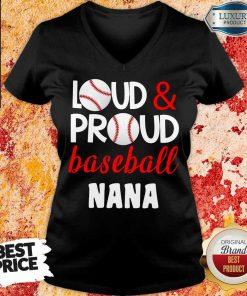 Pretty Baseball Nana Loud Proud V-neck